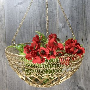 Gold Wire Hanging Basket - flower baskets & boxes