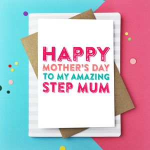 Happy Mother's Day Amazing Step Mum Card - mother's day cards