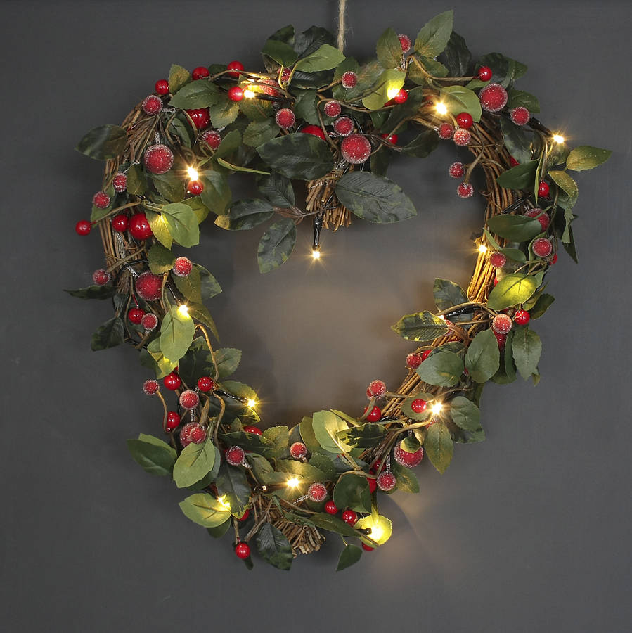 Light up christmas heart shaped red berry wreath by ella