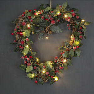 Light Up Christmas Heart Shaped Red Berry Wreath - winter sale