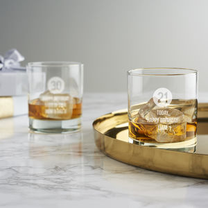 Personalised Special Age Birthday Whisky Glass For Him - glassware