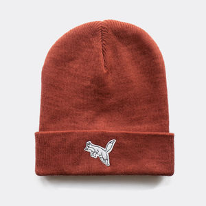 Embroidered 'Fox' Rust Beanie - hats
