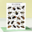 Bees Of Britain Art Blank Greeting Card