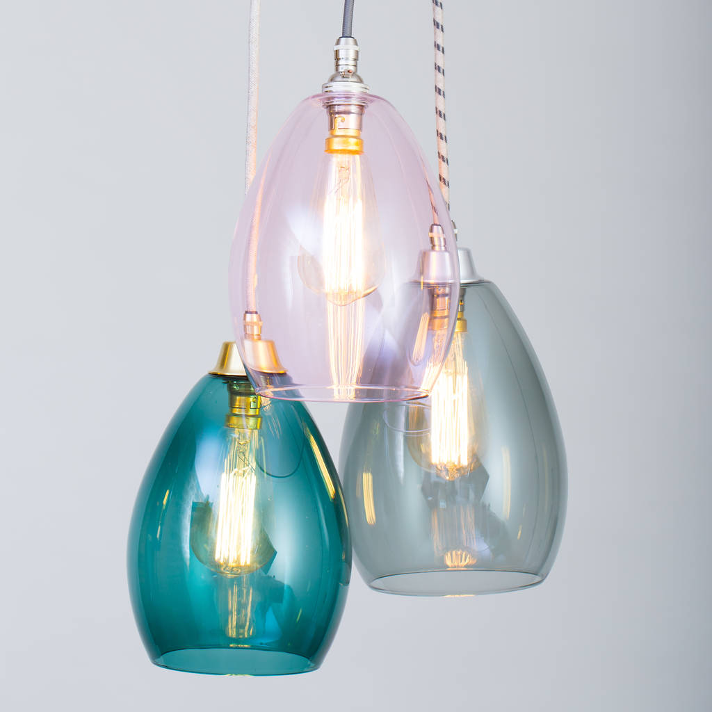 Bertie mid coloured glass cluster pendant light