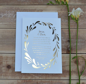 Flower Crown Foiled Wedding Invitation - invitations