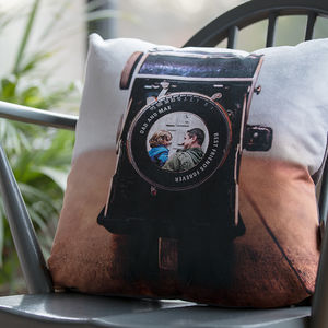 Personalised Vintage Camera Lens Photo Cushion - capturing memories