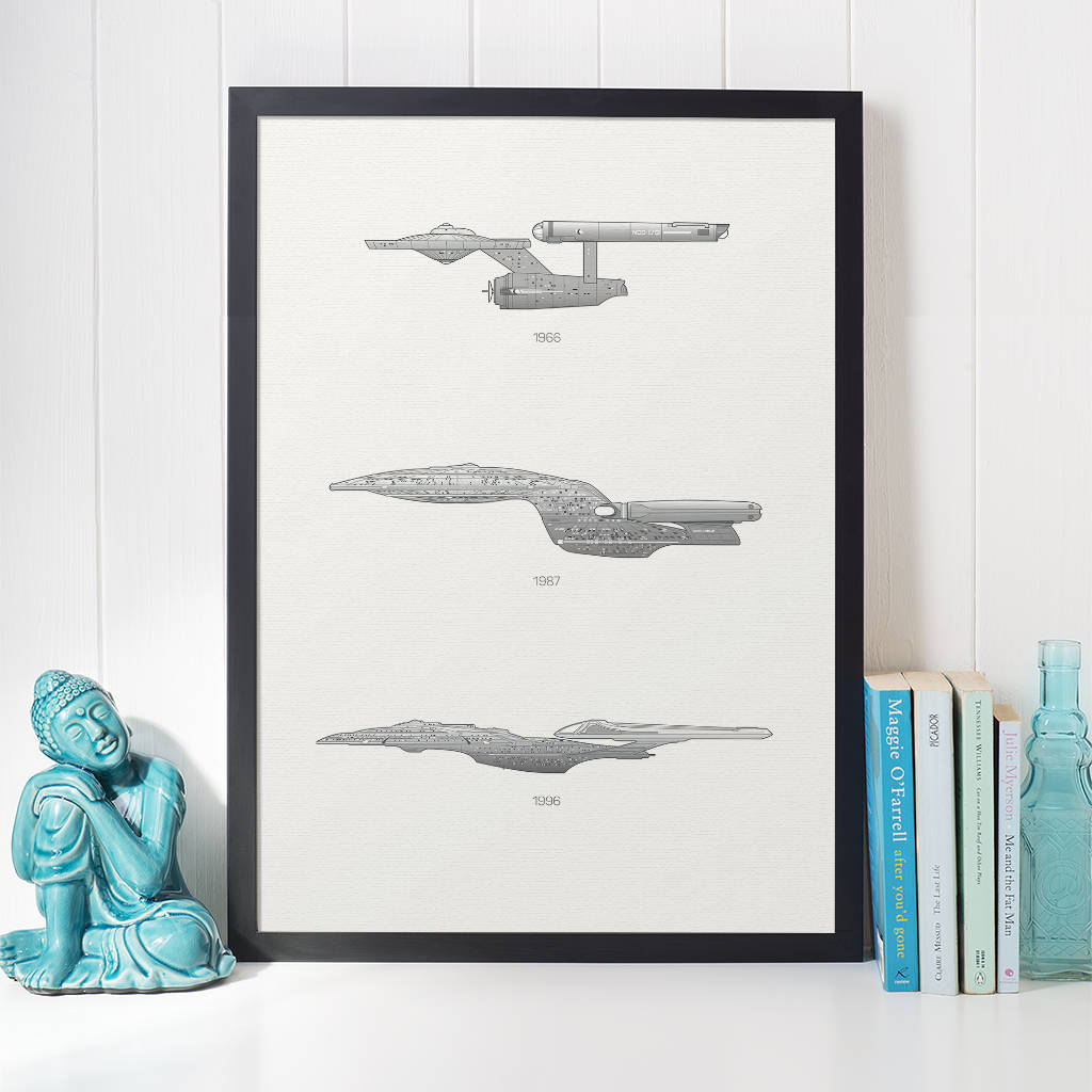 iconic star trek spaceship collection print by rear view prints ...