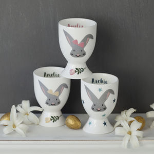 Personalised Easter Bunny Egg Cup With Golden Eggs - easter homeware
