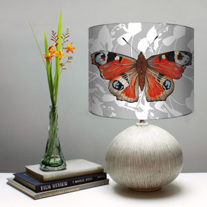 Peacock Butterfly Print Botanical Lampshade