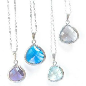 Silver Pendant Jewel Drop Necklace - necklaces & pendants