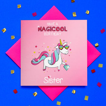 Glitter Unicorn Happy Birthday Sister Card