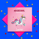 Have A Magicool Birthday Sister Glitter Unicorn Card