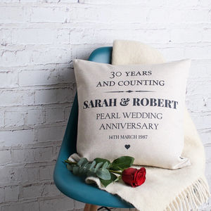 Pearl Wedding Anniversary Cushion Cover - bedroom