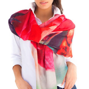 Womens Printed Cashmere Silk Scarf, Rome - birthday gifts