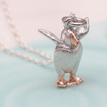 Personalised Silver And 18ct Gold Pufflin Necklace