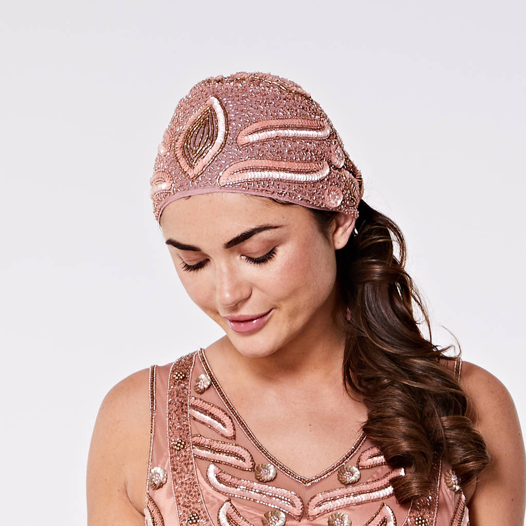 hollywood art deco embellished turban rose gold by gatsbylady london  f49439c3474