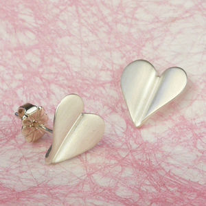 'Love Grows' Brushed Silver Heart Earrings - wedding earrings