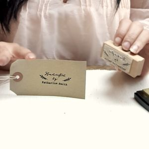 Handcrafted By Personalised Rubber Stamp - stamps & inkpads