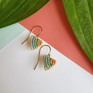 Mini Gold Triangle Tropical Earrings