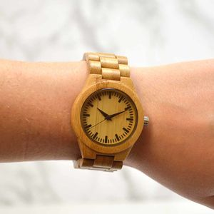 Ladies Engraved Bamboo Wrist Watch