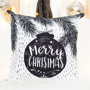 Christmas Decoration Cushion With Bauble - christmas home accessories