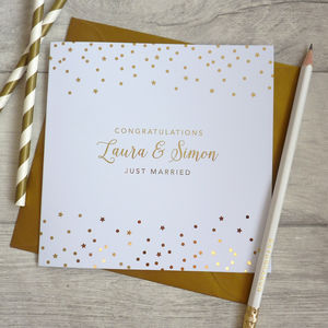 Just Married Metallic Card - wedding cards