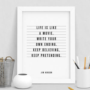 'Life Is Like A Movie' Inspirational Typography Print - film & tv