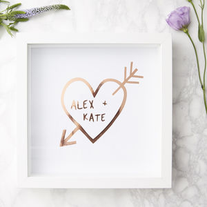 Carved Heart Personalised Framed Print - engagement gifts