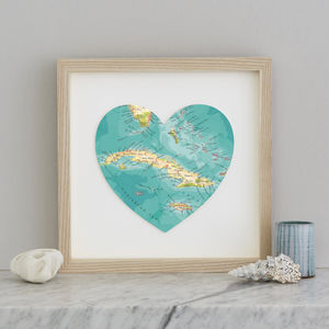 Personalised Location Cuba Map Heart Print - maps & locations