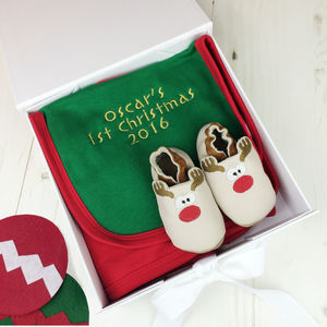 Personalised Rudolph Baby Shoe Christmas Gift Set - baby's first christmas