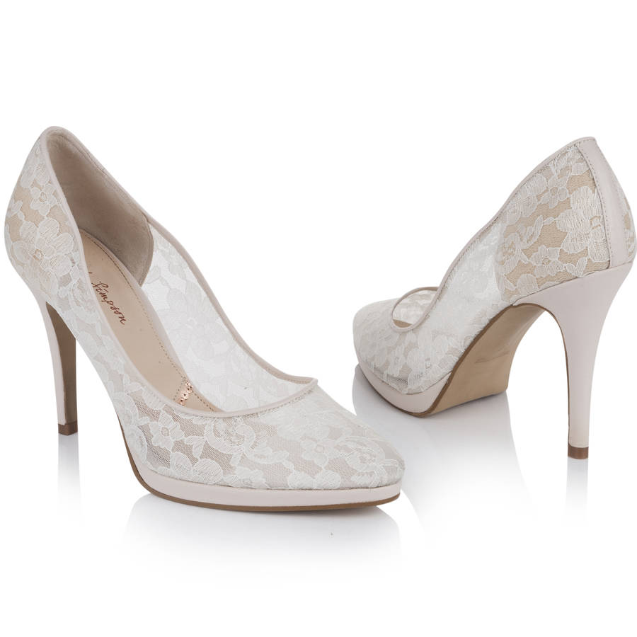 wedding court shoe sheer ivory lace platform by