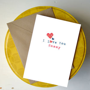 Personalised 'Paper Petals' Little Hearts Card