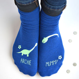 Personalised Mummy And Me Dinosaur Socks - women's fashion