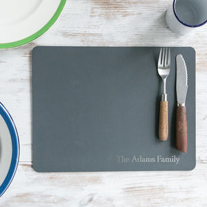 Set Of Family Leather Placemats