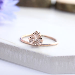 Agape 9ct Rose Gold Offset Trillion Morganite Boho Ring - rings