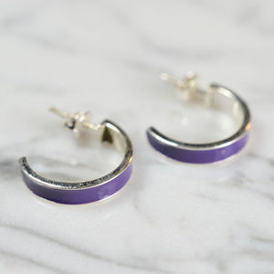 Silver Enamel Hoop Earrings