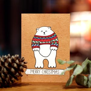 Bear Christmas Jumper Card - cards