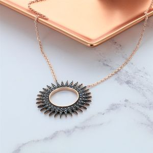 Black Zircon Rose Gold Pave Sun Necklace