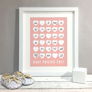 Hearts Personalised Baby Shower Guest Book Print
