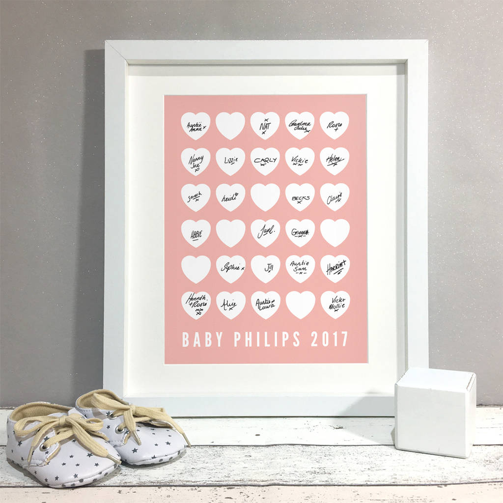 Hearts Personalised Baby Shower Guest Book Print By Bird Key