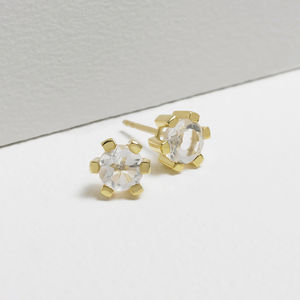 18ct Gold Vermeil Gemstone Panel Earrings - fine jewellery