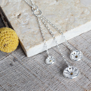 Long Trio Of Daisies Silver Necklace