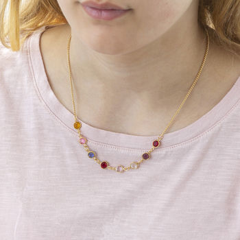 Gold Family Birthstone Link Necklace