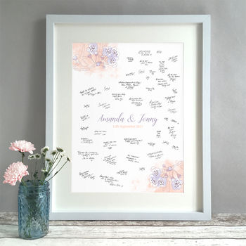 Personalised Blossom Wedding Guest Book Print