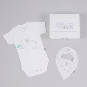 Emmie Elephant Babygrow And Bib Set