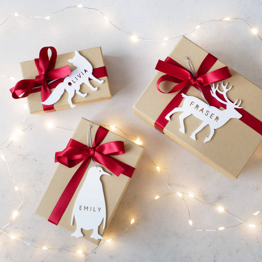 personalised arctic animal christmas gift tag by twenty-seven | notonthehighstreet.com