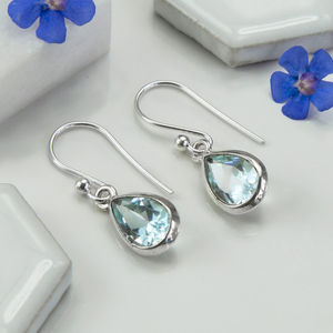 Sterling Silver Blue Topaz Teardrop Earrings - earrings