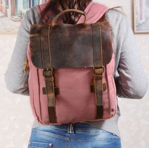 Colorway Canvas And Leather Backpack Gift For Her - backpacks