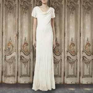 Ivory Draped Neck Gown - wedding dresses