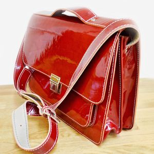 Red Lacquered Leather Satchel - summer sale